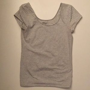 Gap Gray and white striped fitted stretch tee